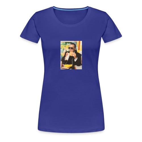 Karl Lagerfeld Eating a McDonald's Cheeseburger - Women's Premium T-Shirt
