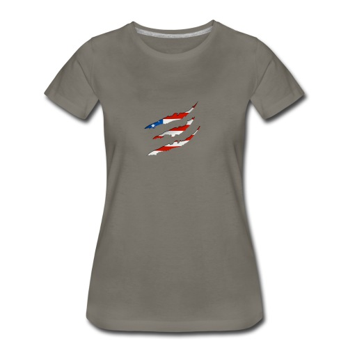 3D American Flag Claw Marks T-shirt for Men - Women's Premium T-Shirt