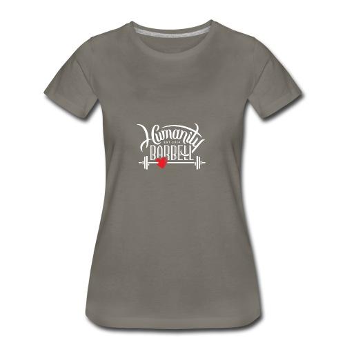 Humanity Barbell White w/Red Heart - Women's Premium T-Shirt