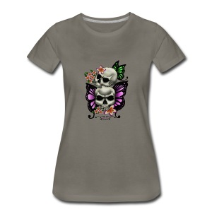 BUTTERFLY SKULLS WITH PLUMERIA - Women's Premium T-Shirt