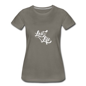 Lost in Life White on Dark logo small - Women's Premium T-Shirt