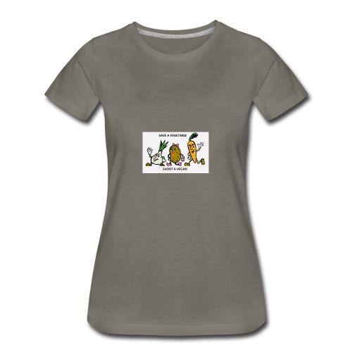 SAVE A VEGETABLE SHOOT A VEGAN - Women's Premium T-Shirt