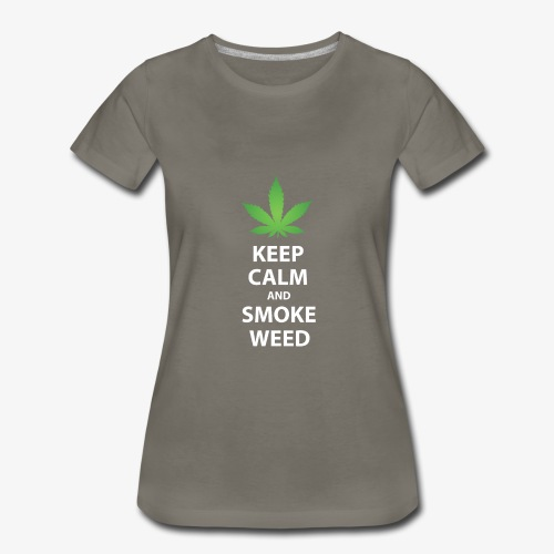 keep calm smoke weed white text - Women's Premium T-Shirt