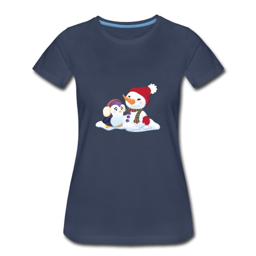 Penguin & Snowman Winter Friends - Women's Premium T-Shirt