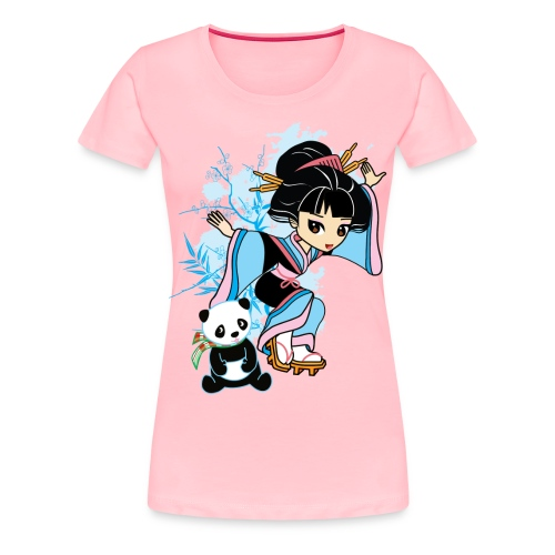 Cartoon Kawaii Geisha Panda Ladies T-shirt by - Women's Premium T-Shirt