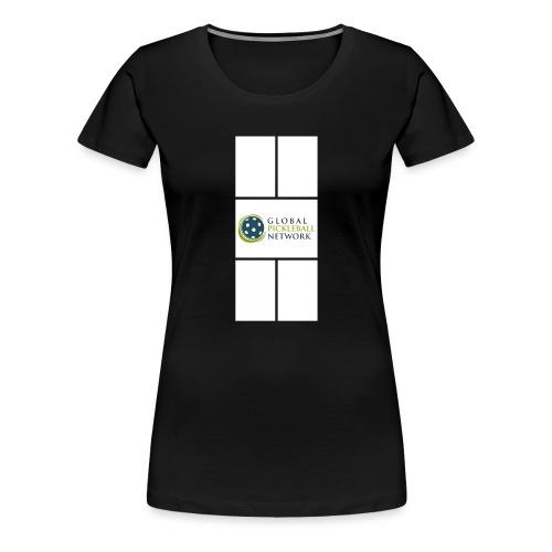 Global Pickleball Network Logo on White Court - Women's Premium T-Shirt