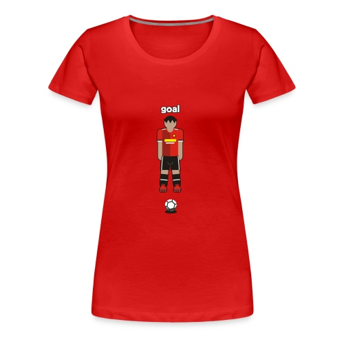 Goal, Red Football Player like Manchester UTD - Women's Premium T-Shirt