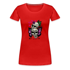 SKULLS WITH BUTTERFLIES AND DAISIES - Women's Premium T-Shirt