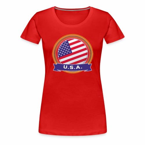 U.S.A. Happy Holi Color Framed U.S.A. Flag Banner - Women's Premium T-Shirt
