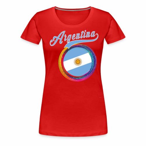 Argentina Sports Holi Color Framed Argentina Flag - Women's Premium T-Shirt