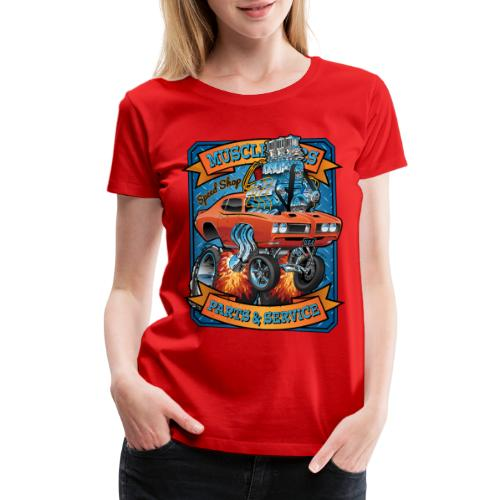 Classic Sixties Muscle Car Parts & Service Cartoon - Women's Premium T-Shirt