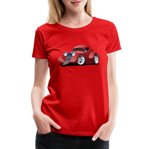 Red Hot Rod Restomod Custom Coupe Cartoon - Women's Premium T-Shirt