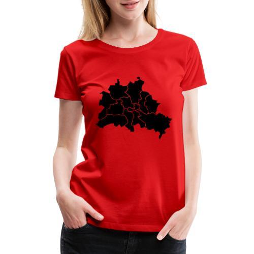 Berlin map, districts - Women's Premium T-Shirt