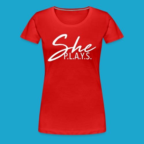 Classic She Plays Logo Tee - Women's Premium T-Shirt
