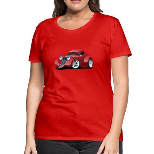 Red Hot Rod Restomod Custom Coupe Cartoon - Women's Premium T-Shirt