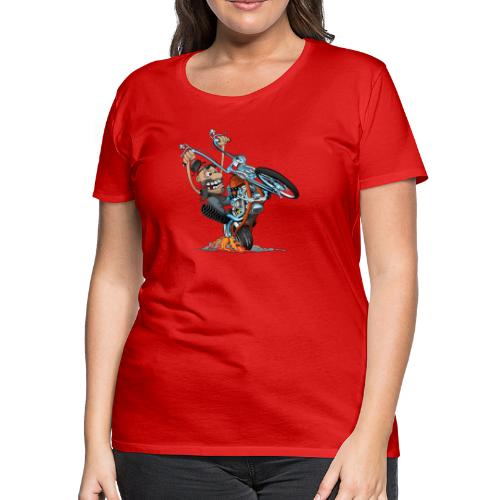 Funny biker riding a chopper cartoon - Women's Premium T-Shirt