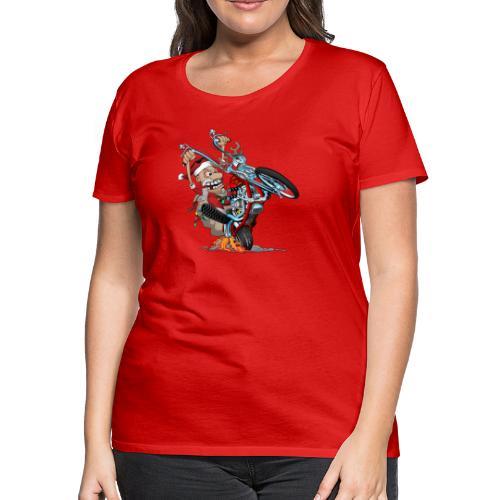 Biker Santa on a chopper cartoon illustration - Women's Premium T-Shirt