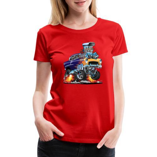 Classic Fifties Hot Rod Muscle Car Cartoon - Women's Premium T-Shirt