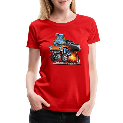 Classic hot rod 57 gasser dragster car cartoon - Women's Premium T-Shirt