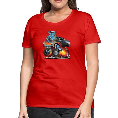 Classic hot rod 57 gasser dragster car cartoon - Women's Premium T-Shirt