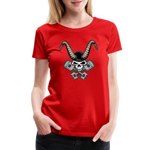 Skull with horns and crossed pistons illustration - Women's Premium T-Shirt