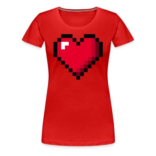 Pixel 8 bit Happy Valentine s Day Heart for Gamers - Women's Premium T-Shirt
