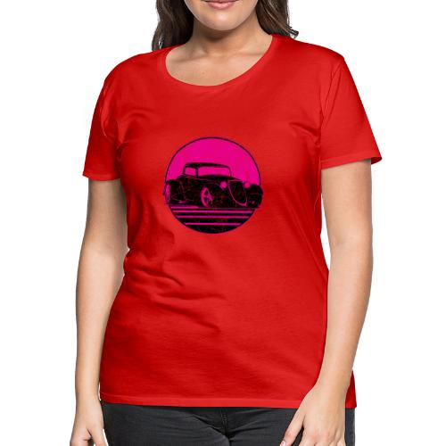 Retro Hot Pink Hot Rod Grungy Sunset Illustration - Women's Premium T-Shirt