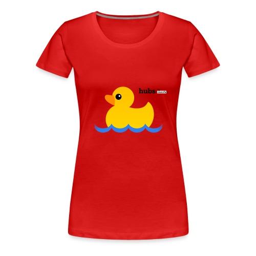 Hubs Duck - Wordmark and Water - Women's Premium T-Shirt