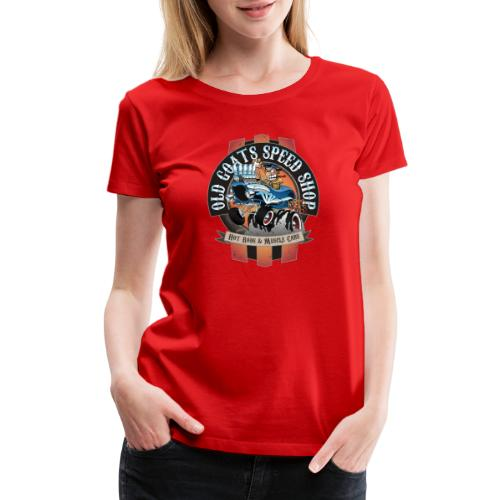 Old Goats Speed Shop Vintage Car Sign Cartoon - Women's Premium T-Shirt