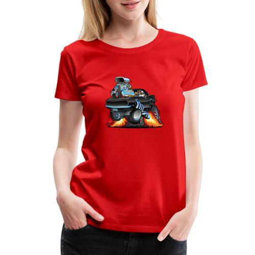 Classic Sixties American Muscle Car Cartoon - Women's Premium T-Shirt