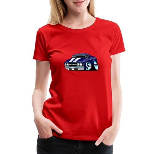 Classic American Muscle Car Cartoon - Women's Premium T-Shirt