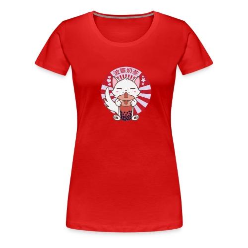 Kawaii Cat Kitten Drinking Bubble Boba Tea - Women's Premium T-Shirt