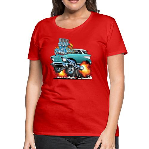 Classic Fifties Hot Rod Muscle Car Cartoon - Women's Premium T-Shirt