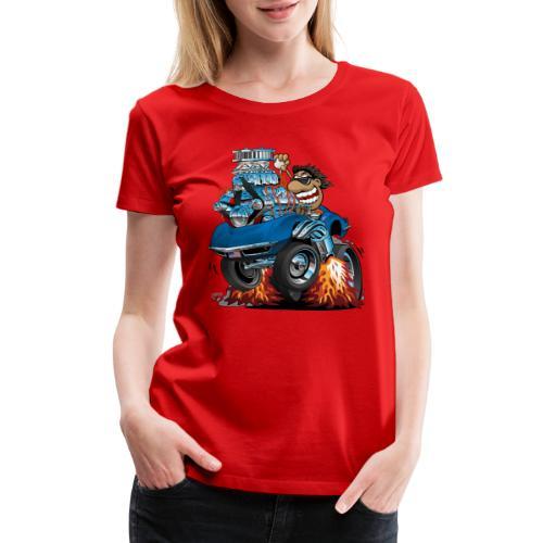Classic '69 American Sports Car Cartoon - Women's Premium T-Shirt