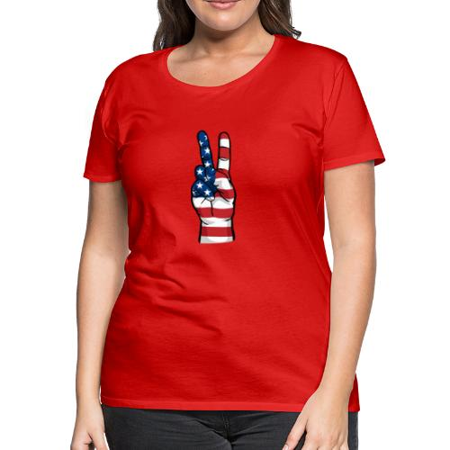 hand peace sign USA T small - Women's Premium T-Shirt