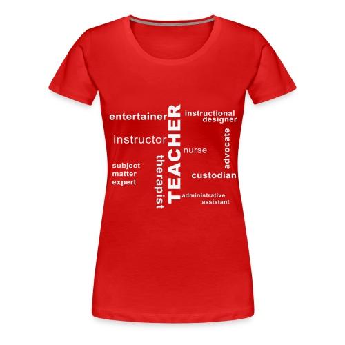teacher wordle white png - Women's Premium T-Shirt
