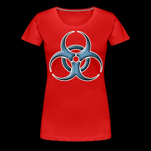 Bio-hazard Stylized Blue Emblem - Women's Premium T-Shirt