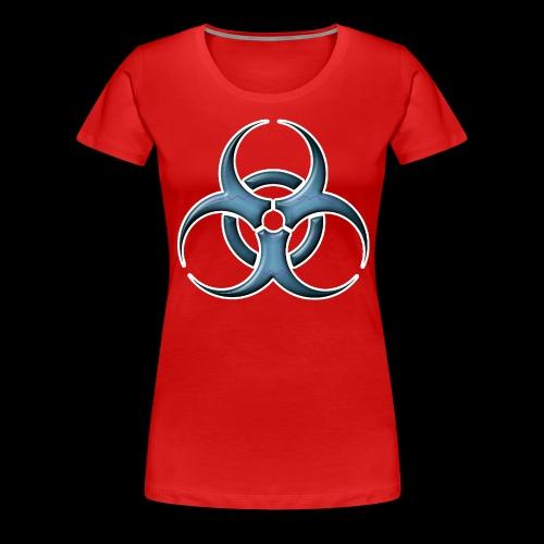 Bio-hazard Stylized Blue Emblem - Women's Premium T-Shirt