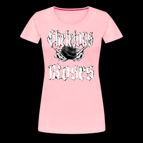 Skull Middle Finger Roses Design - Women's Premium T-Shirt