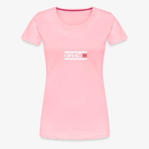 White Double line Grace - Women's Premium T-Shirt