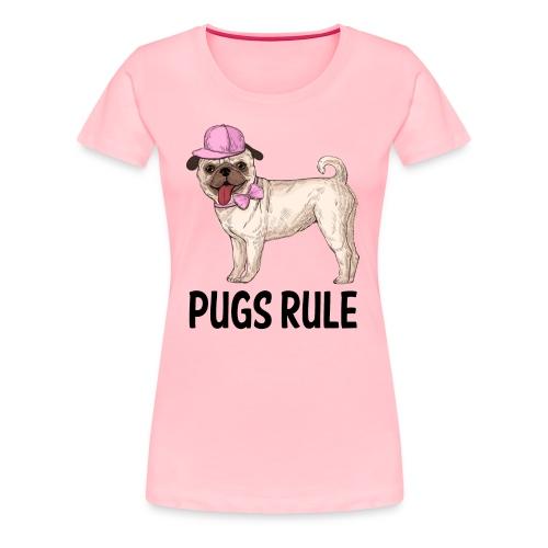 Pug Puppy Dog Cartoon Love Puppies Dogs Pugs Rule - Women's Premium T-Shirt
