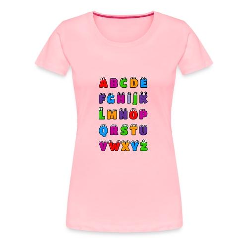 Kawaii Alphabet Letters ABC for children - Women's Premium T-Shirt