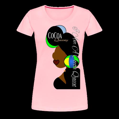 Light blue, Green, Yellow Head tie Cocoa Queen - Women's Premium T-Shirt
