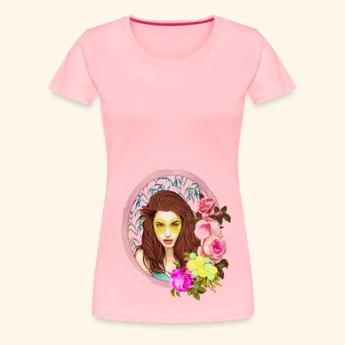 frame digital flower roses ribbon girl - Women's Premium T-Shirt