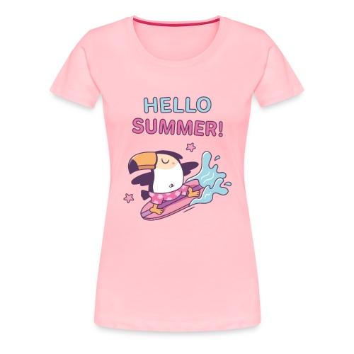 Hello Summer, Cute Surfer Toucan - Women's Premium T-Shirt