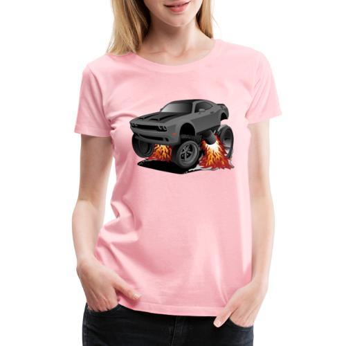 Modern American Muscle Car Cartoon Illustration - Women's Premium T-Shirt