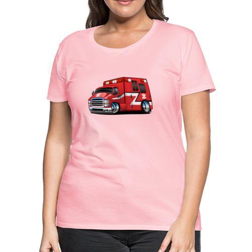 Paramedic EMT Ambulance Rescue Truck Cartoon - Women's Premium T-Shirt