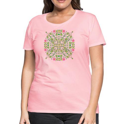 Funny green frogs hunting flies mandala design - Women's Premium T-Shirt