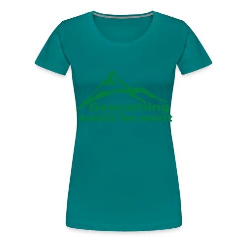 Geocaching in the Rain - Women's Premium T-Shirt