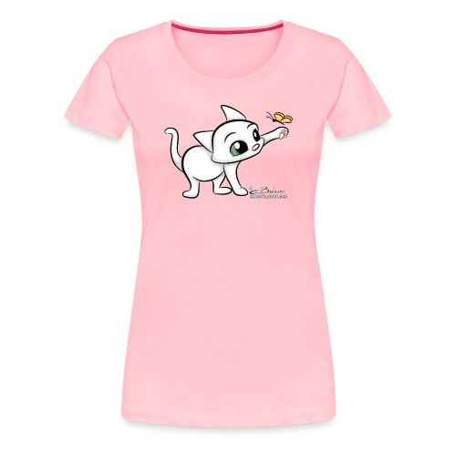 Cat with Butterfly - Women's Premium T-Shirt